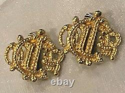 100% Authentic Vintage Christian Dior Gold-Tone Logo Clip Earrings