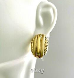 14K GOLD OVAL RIBBED EARRINGS OMEGA BACKS 3/4 Puffy Button VINTAGE SALE