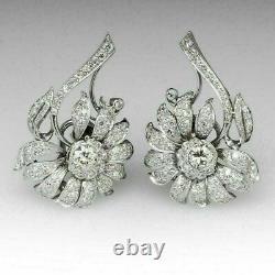 14k White Gold Over Vintage 1.12Ct Diamond Omega Style Posts Flower Earrings