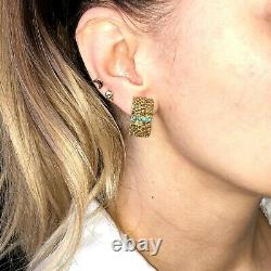 18K Yellow Gold Turquoise Textured Feather Vintage Clip-On Signed Earrings Italy