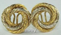 1950's Vintage 18k White Yellow Gold Rope Love Knot Clip Earrings European