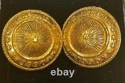 1990 Vintage Chanel Gold Plated Button Coin Clip Earrings