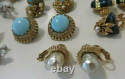 ALL SIGNED Lot 14 Pairs VTG Clip / Screw Earrings Vendome, Kramer, Coro, Monet