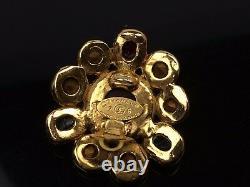 AUTH CHANEL Jwelry stone motif Gold tone EARRINGS VINTAGE 7J100110n
