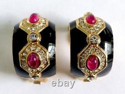 A Vintage Pair Of Christian Dior Clip Earrings With Black Enamel. White Diamantes