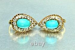 Antique 18K Rose Gold Turquoise 2.0ct White Sapphire Halo Clip Earrings
