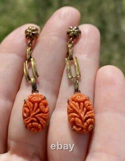 Antique Art Nouveau Carved Red Coral 14k Gold Screw Clip Earrings 2