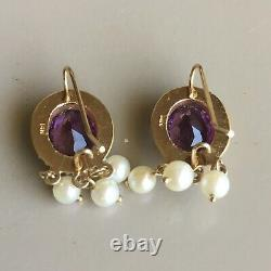 Antique Deco Amethyst Seed Pearl Earrings Vintage 14k Yellow Gold Estate Jewelry