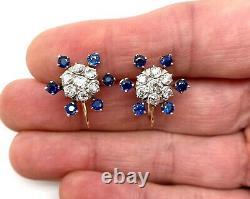 Antique Estate 14K Yellow Gold 2.50 CTW Mine Cut Diamond Sapphire Clip Earrings