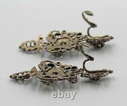 Antique Georgian Silver Diamond Floret Chandelier Clip Earrings