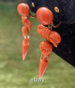 Antiquevictorian Georgian Carved Red Coral 14k Gold Screw Clip Earrings 2.25