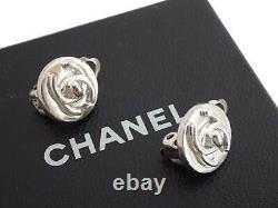 Auth CHANEL CC Logo Vintage 97A Clip-on Round Earrings Silvertone Metal e48111e