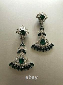 Auth CHRISTIAN DIOR Vintage Germany Green Emerald Glass Rhinestone Clip Earrings