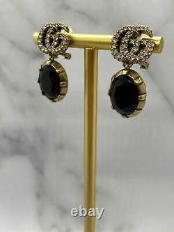 Auth GUCCI GG Brass Tone Antique Onyx Clip On Earrings USED / G1696