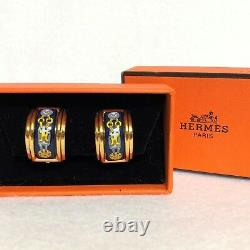 Auth HERMES Vintage Logos Cloisonne Ware Earrings Clip-On with Box Gold Tone