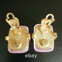Auth Vintage CHANEL Pink Gripoix Gold Letter Plate Clip On Earrings Used Japan