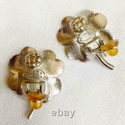 Auth Vintage CHANEL Rhinestone CC Clover Clip On Earrings Pink Beige Used F/S