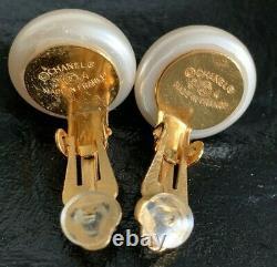 Authentic CHANEL VTG 1996 Pearl Mini CC Logo Coco Mark Clip On Earrings FRANCE
