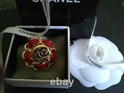 Authentic CHANEL Vintage Single Clip On Red Leather CC Logo Earring. One