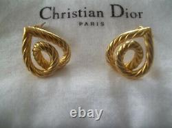 Authentic CHRISTIAN DIOR Vintage Signed Heart Design Clip On Earrings With Pouch