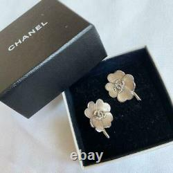 Authentic Chanel Vintage Earrings Clip On Coco CC Logo Tracking Number 96#2199