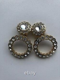 Authentic Christian Dior Vintage Rhineston Clip On Earrings Mint Condition