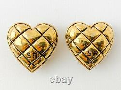 Authentic Sonia Rykiel Vintage Gold Tone Heart Clip-on Earrings Plaid Check