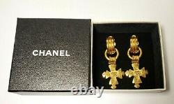 Authentic Vintage CHANEL 2way Cross Dangle Clip on Earrings With Gift Box