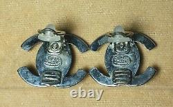 Authentic Vintage CHANEL CC Turn lock Clip on Earrings