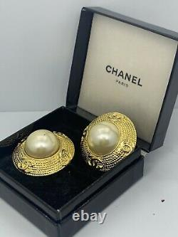Authentic Vintage CHANEL FAUX PEARL Clip Earrings 24k Gold Plated