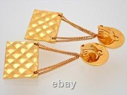 Authentic Vintage Chanel clip on earrings CC logo 2.55 flap bag dangle #AF037