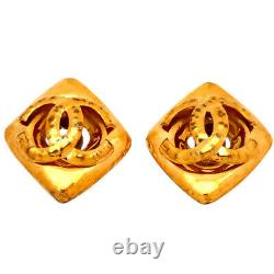 Authentic Vintage Chanel clip on earrings CC logo large rhombus #AF017