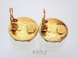 Authentic Vintage Chanel clip on earrings CC logo round #AF003