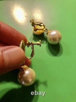 Authentic Vintage SONIA RYKIEL Dangling Large Pearl Earrings signed SR