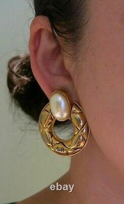Authentic Vintage SONIA RYKIEL Loop Pearl Earrings