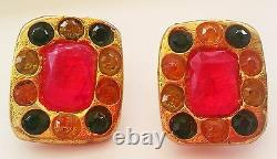 BEAUTIFUL VINTAGE FRENCH 80's NON PIERCED CLIP ON KALINGER MULTI COLOR EARRINGS