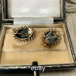 Black Opal Earrings in 9ct yellow gold, large vintage clip-ons with antique box