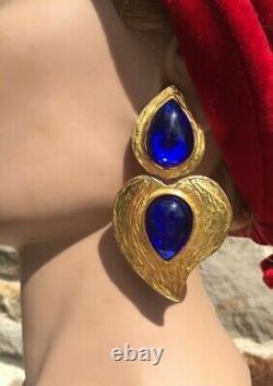 Boucles d'oreilles Pendantes CLIPS YVES ST LAURENT Earrings Blue Heart. Vintage