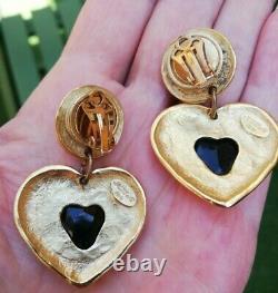 Boucles d'oreilles clips vintage forme coeur dorée pendantes marque Jacky de G