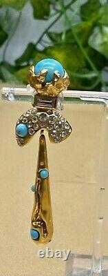 Boucles doreilles Pendantes à clip vintage Christian Lacroix Avec Turquoise