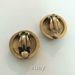 CHANEL CC Logo Vintage Rope Earrings Gold tone Clip On Used from JPN F/S