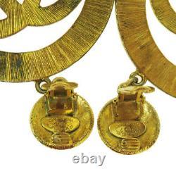 CHANEL CC Logo XL JUMBO Earrings Gold-tone Clip-On 27 France Vintage 600MK056