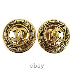 CHANEL CC Logos Circle Earrings Gold Clip-On 2448 Vintage Authentic #AC92 Y