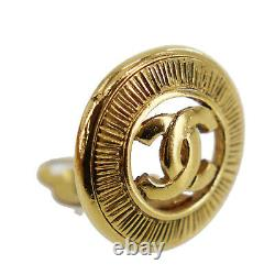 CHANEL CC Logos Circle Earrings Gold Clip-On Vintage Authentic #AC286 S
