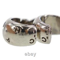 CHANEL CC Logos Circle Earrings Silver 925 Clip-On Vintage Authentic #AC746 Y