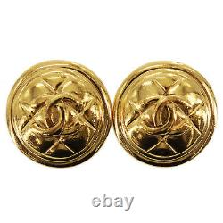 CHANEL CC Logos Matelasse Earrings Gold Clip-On France Vintage Auth #AC295 Y