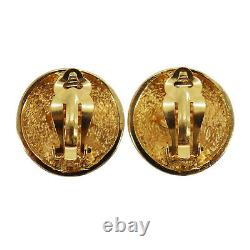CHANEL CC Logos Matelasse Earrings Gold Clip-On France Vintage Auth #AC321 S