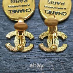 CHANEL Gold Plated CC Logos Cambon Vintage Swing Clip Earrings #165c Rise-on