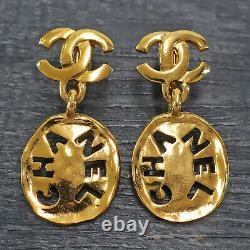 CHANEL Gold Plated CC Logos Vintage Swing Clip Earrings #162c Rise-on