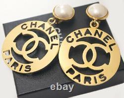 CHANEL Pearl Huge CC Logos Dangle Earrings Gold Tone Clips Vintage RARE